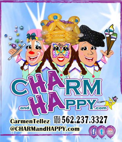 CharmandHappy.com Carmen Tellez Whittier party entertainment balloon art face painter whittier balloon art los angeles oc orange county socal singing telegram unique birthday gift