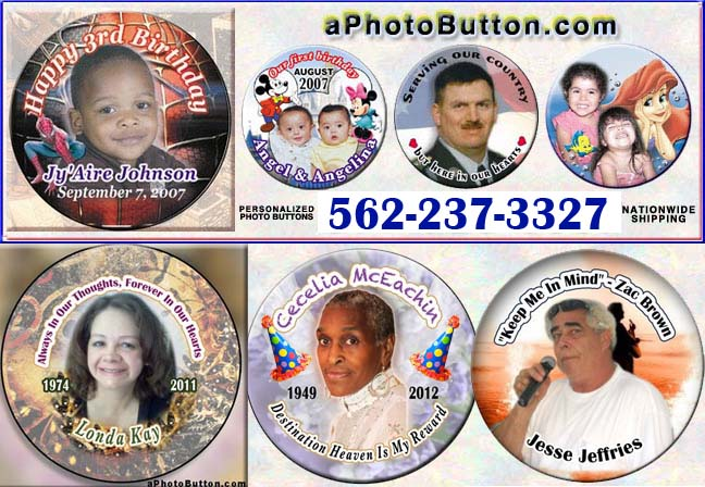 In Loving memory aPhotoButton.com funeral memorial photo buttons