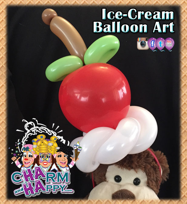 Cherry on top balloon hat by CharmandHappy.com SoCal artist entertainment kids parties