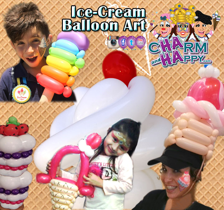 Ice-cream theme social balloon art by CharmandHappy.com SoCal