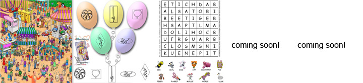 ACTIVITY SHEETS: Find the super Geopup balloon dog activity sheet, match the balloon art shapes to the round balloons