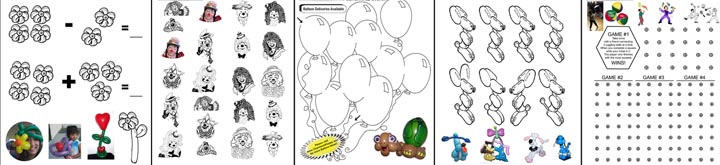 ACTIVITY SHEETS: Coloring pages, balloon art math, connect the dots, balloon maze, find the twin balloon dogs