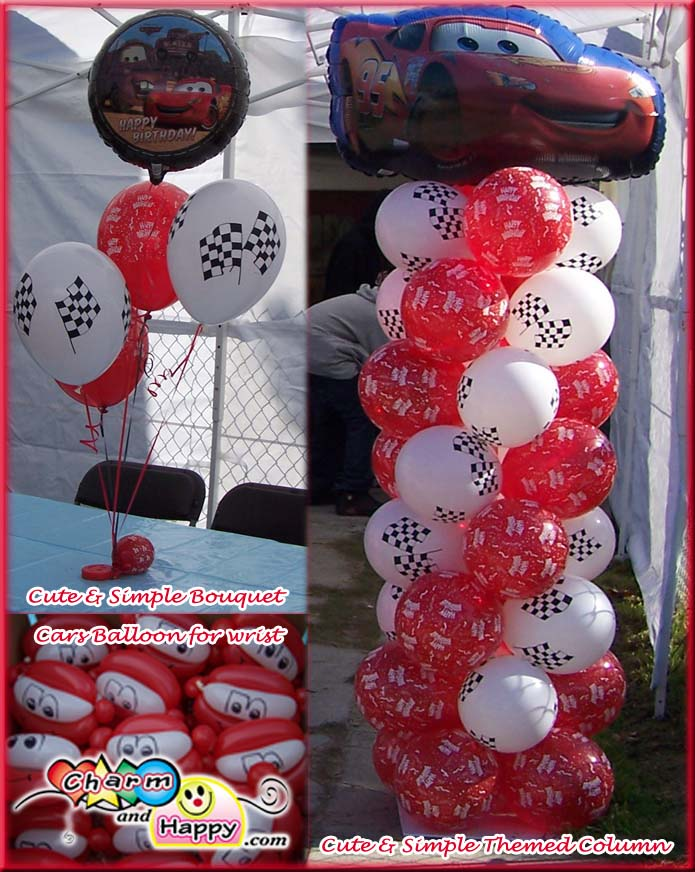 Charmandhappycom birthday party cars theme balloon for Balloon decoration cars theme