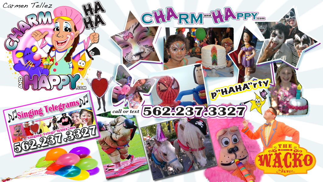 Party Services Quote: CharmandHappy.com Company Event Entertainment Los Angeles birthday party clowns Beverly Hills, Rolling Hills, San Pedro, Newport Coast, Mission Viejo, San Bernardino, San Dimas, Duarte, Whittier clown