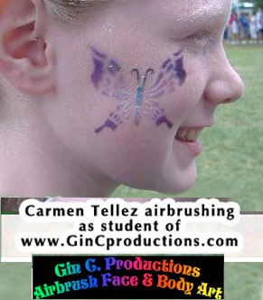airbrush face painter carmen tellez butterfly los angeles whittier socal