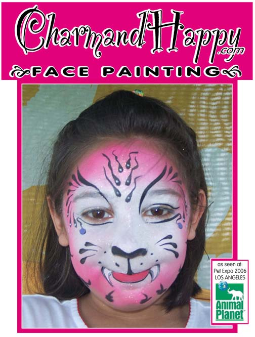 Animal Planet Pet Expo hosted by Mario Lopez 2006. Face Painting by Carmen Tellez of Pink Tiger by CharmandHappy.com face painter for Animal Planet Pet Expo Los Angeles birthday party clowns Beverly Hills, Rolling Hills, San Pedro, Newport Coast, Mission Viejo, San Bernardino, San Dimas, Duarte, Whittier