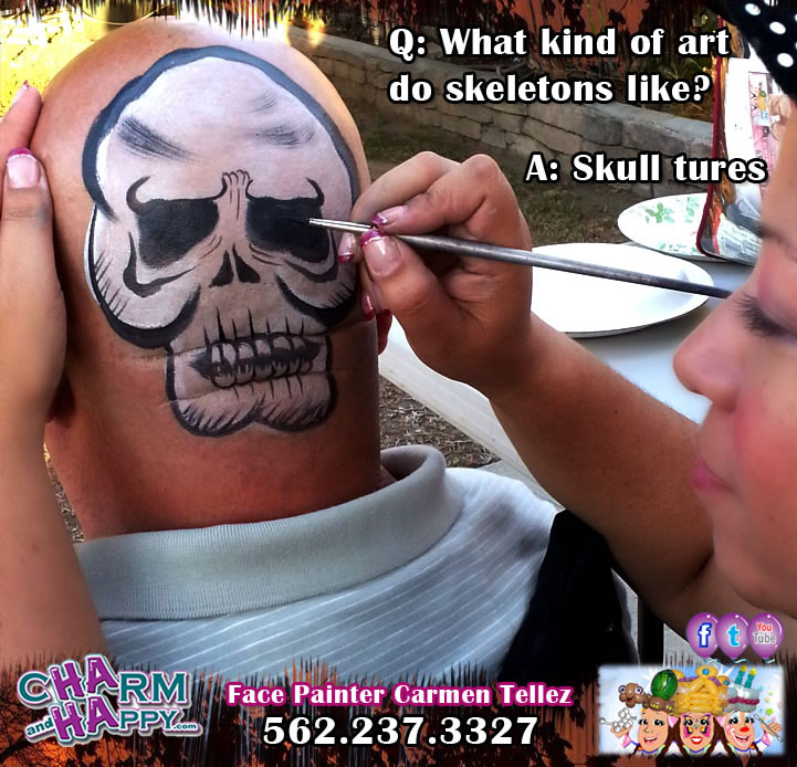halloween skull face painter carmen tellez charmandhappy los angeles socal whittier