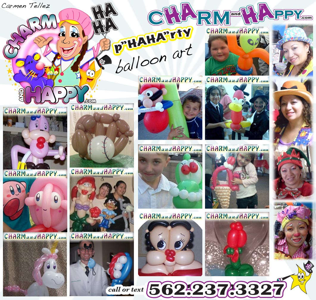charmandhappy.com animal balloon arti los angeles socal 562-237-3327