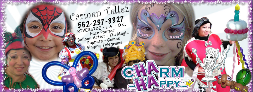 CharmandHappy.com 562-237-3327 face painter balloon artist entertainment Menifee Hemet San jacinto SoCal birthday clown Temecula