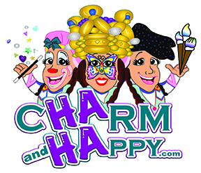 CharmandHappy.com logo balloon artist christmas elf birthday clown riverside moreno valley temecula party hemet banning yucaipa