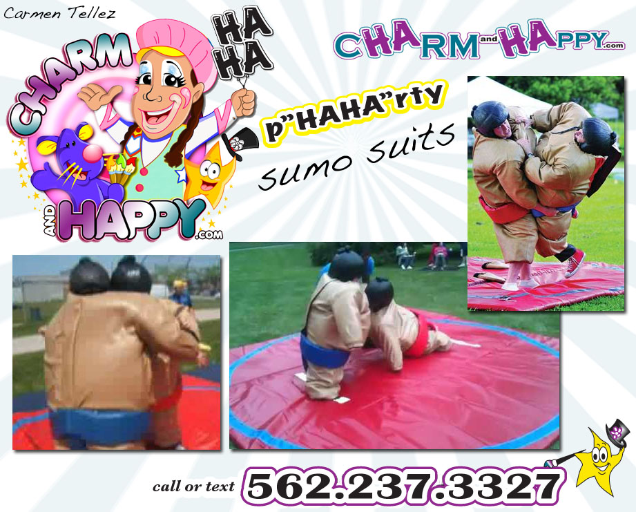 CharmandHappy.com Company Event Entertainment Los Angeles birthday party Whittier sumo suit rentals wrestling 562.237.3327 SoCal