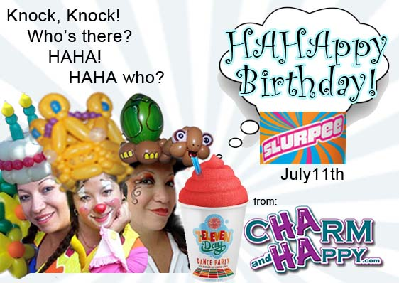 7-eleven day july 11 free slurpee day with CharmandHappy.com Hollywood Corona Chino Los angeles