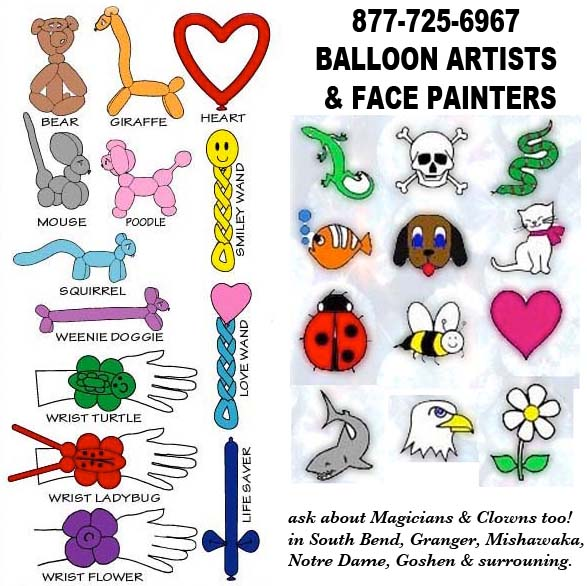 clowns balloon art face paint magicians in Northern Indian and surrounding areas