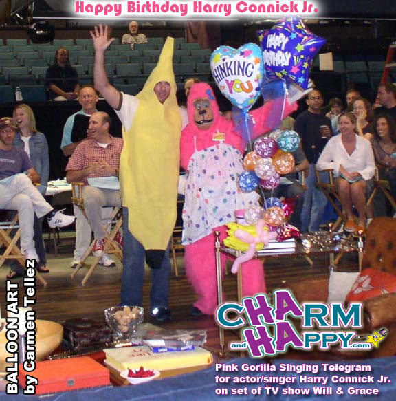 CharmandHappy.com singing telegrams los angeles pink gorilla balloon delivery whittier Socal