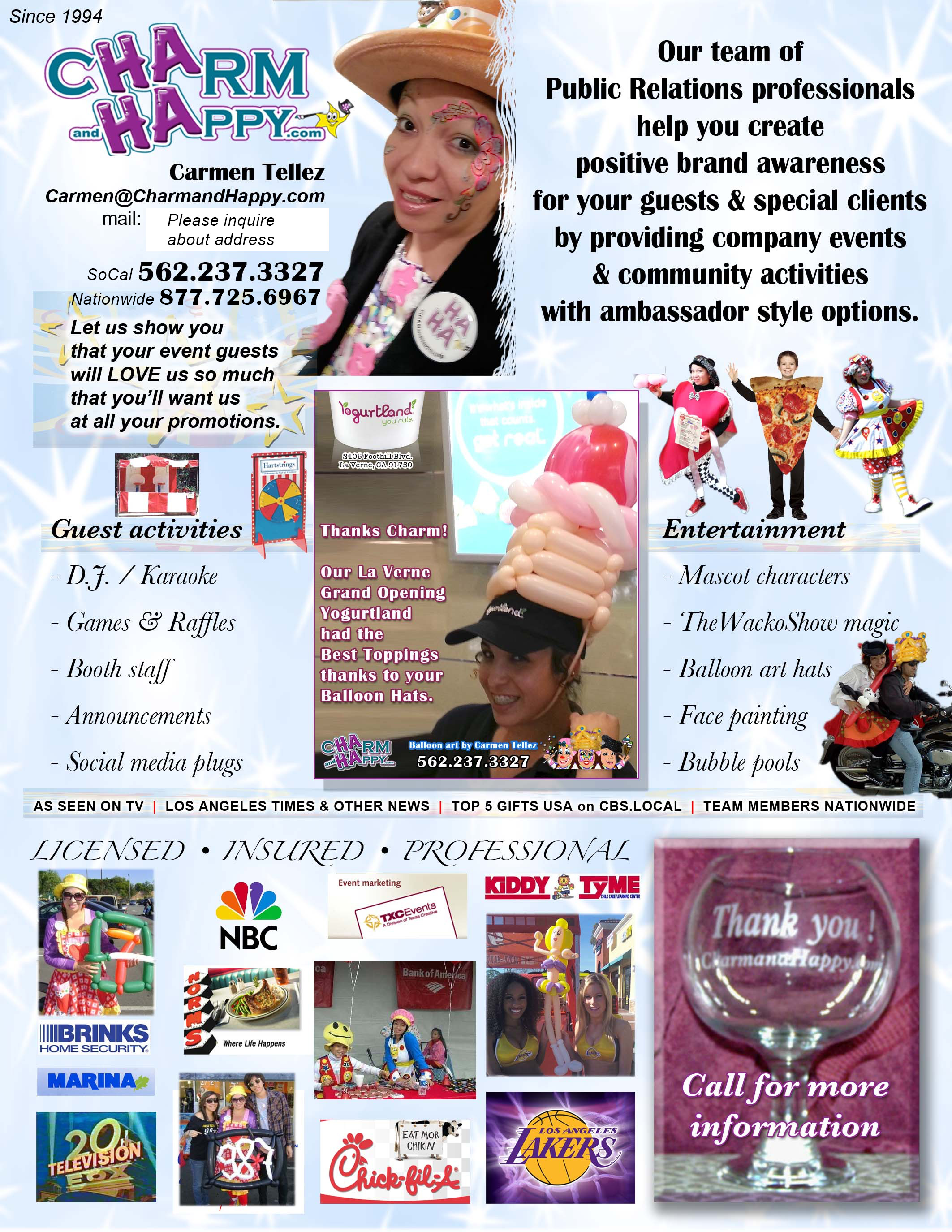 National Ice-cream month July event socials featuring CharmandHappy.com face painting balloon art entertainment Los Angeles Hollywood Temecula moreno valley San Jacinto San Bernardino