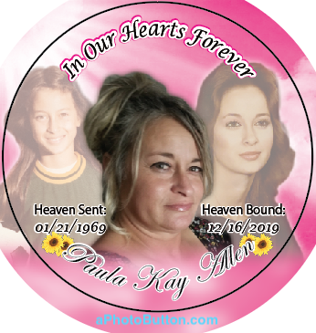 memorial pinback photo buttons with past photos in back