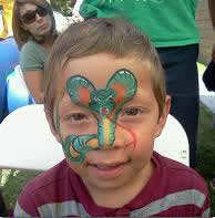 Snake face painter for Reptile Parties by CharmandHappy.com SoCal Los Angeles Riverside Orange County