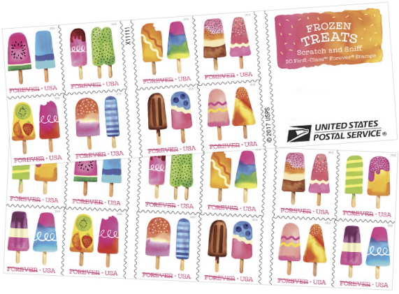 national ice-cream month scratch n sniff usa stamps