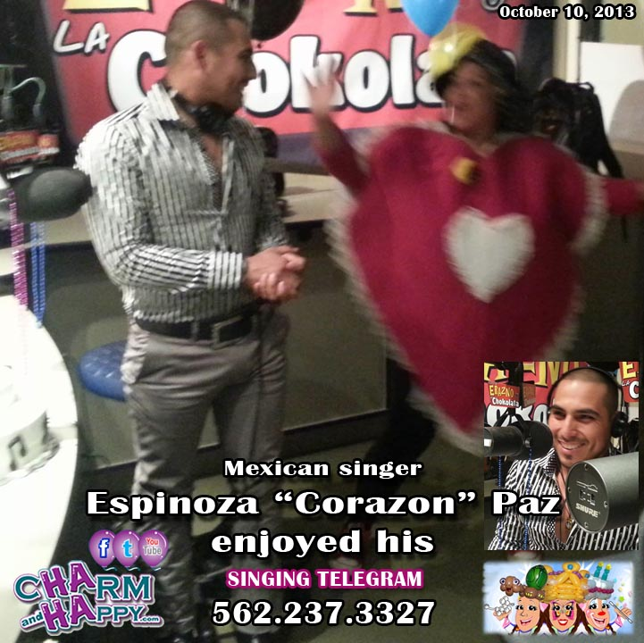 Espinoza Corazon Paz singing telegram by CharmandHappy.com