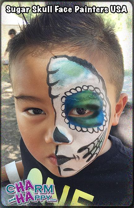 Sugar Skull Face Painters USA Hollywood cheek art full face party
