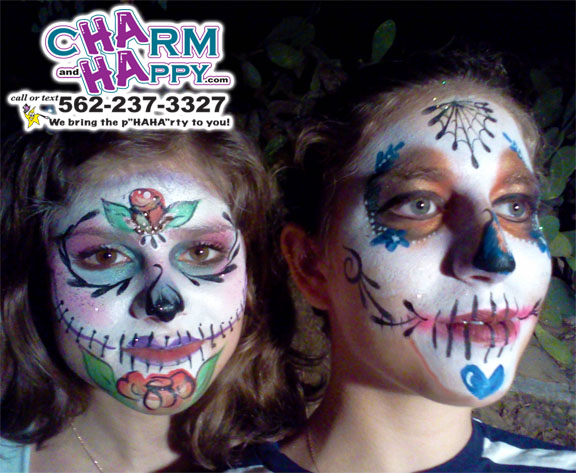 sugar skull face painter los angeles, whitier face painter halloween, whitter day of dead, charmandhappy