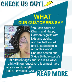 client feedback comments face painting comments for Carmen Tellez CharmandHappy.com San Jacinto Perris Menifee Beaumont Hemet SoCal Face Painter
