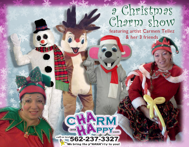 christmas holiday characters snowman reigndeer rudolf jack frost elf mrs claus winter singing  telegram
